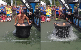 Announcer Sean English takes the ALS Ice Bucket Challenge at the REV3 Triathlon in Old Orchard Beach, ME, August 2014.