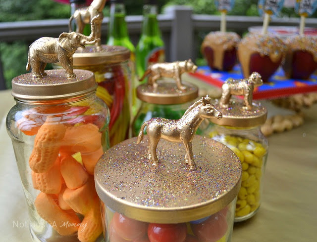 Run Away With The Circus party table animal topper jars