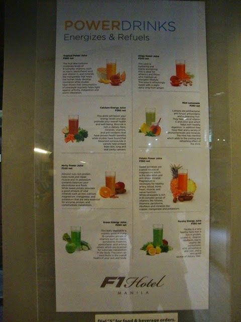F1 HOTEL MANILA, F1 HOTEL MANILA GYM, HEALTHY DRINKS