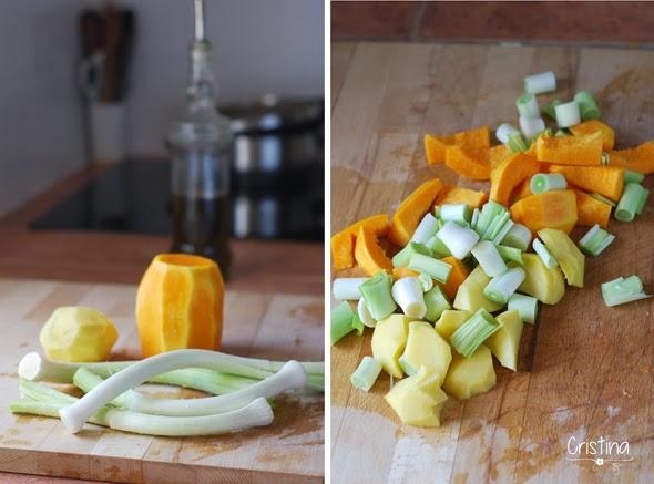 calabaza, puerros y patata
