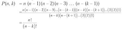 permutasi k unsur yang diambil dari n unsur