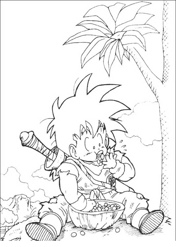 Gohan comiendo para colorear - Dibujo Views