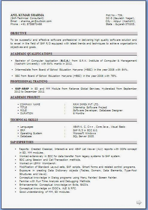 resume format resume format download for bca