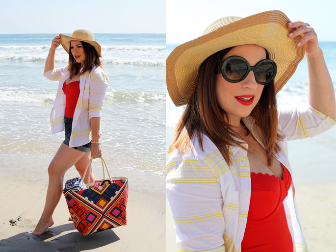 san diego beach, red swimsuit, summer beach style, prada replica sunglasses