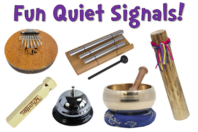 What's your favorite quiet signal? Check out these 20 terrific quiet signals that include everything from call and response strategies to fun noise-making objects like train whistles and rain sticks!