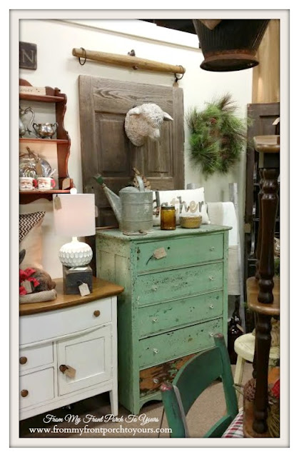 Green Vintage Dresser-Sheep Head-Georgia-Antique Shopping-The Savvy Shopper- From My Front Porch To Yours