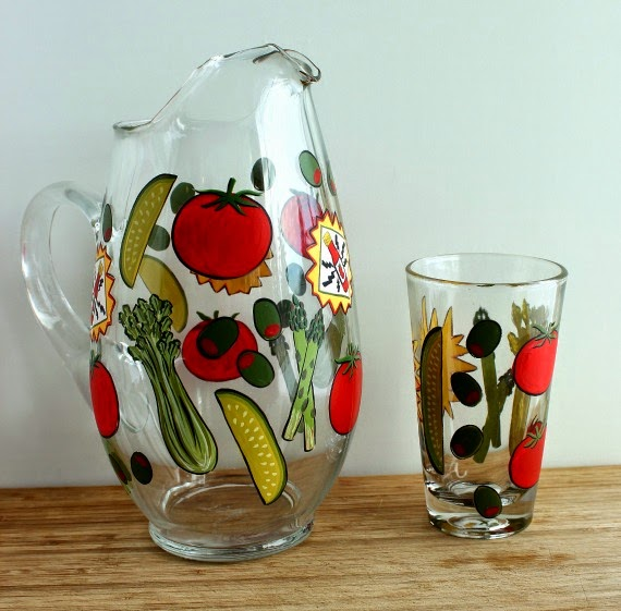 Painted Bloody Mary Pitcher and Glass via Kudos Kitchen By Renee
