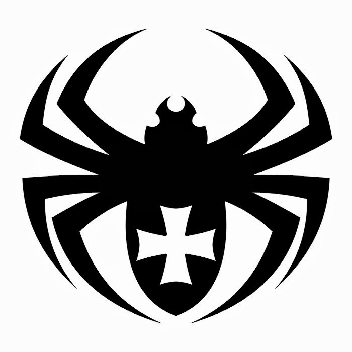Spider with cross tattoo stencil