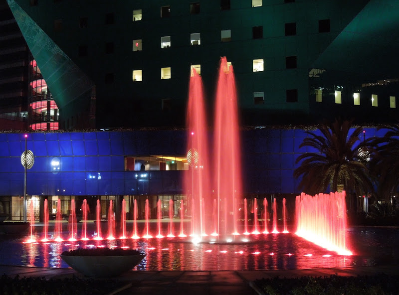 Pacific Design Center fountains at night