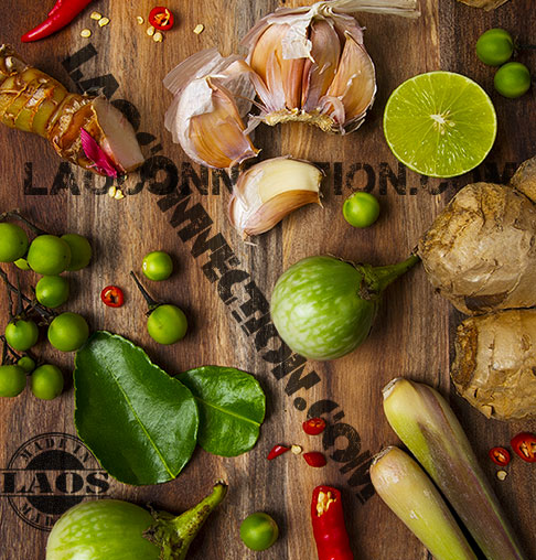 Start Cooking Lao Food!  Ingredients on a cutting board.