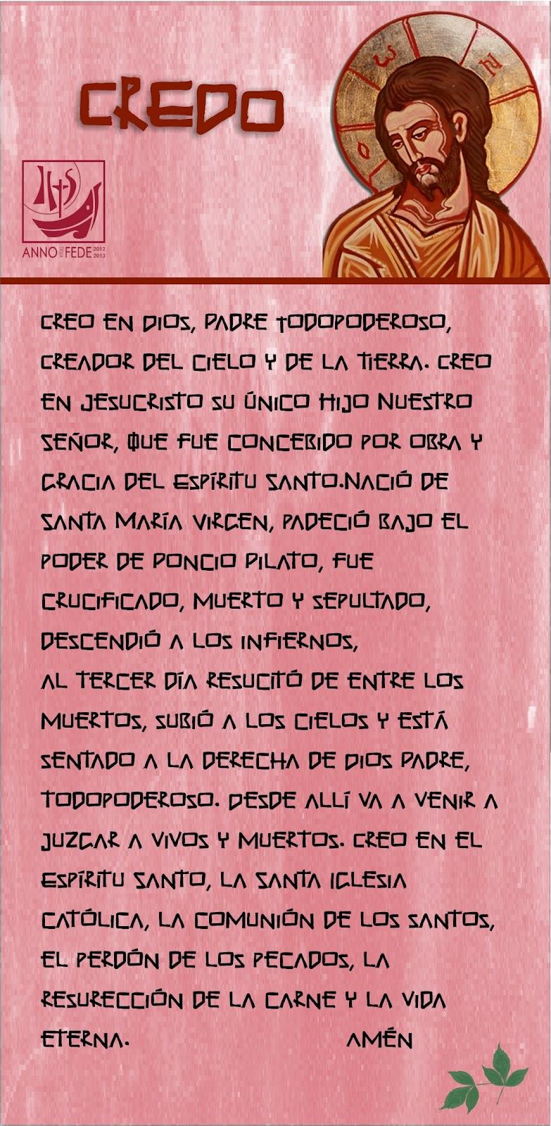 Tarjetas Y Oraciones Catolicas Credo De Los Apóstoles Español