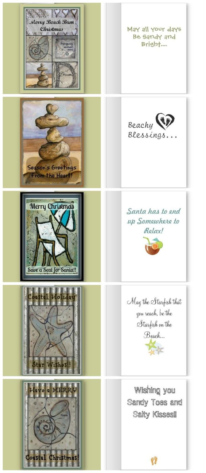 coastal beach themed christmas cards made from my original art - Beach Themed Christmas Cards