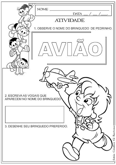 Atividade Vogais Sítio do Pica Pau Amarelo Dia do Livro Infantil