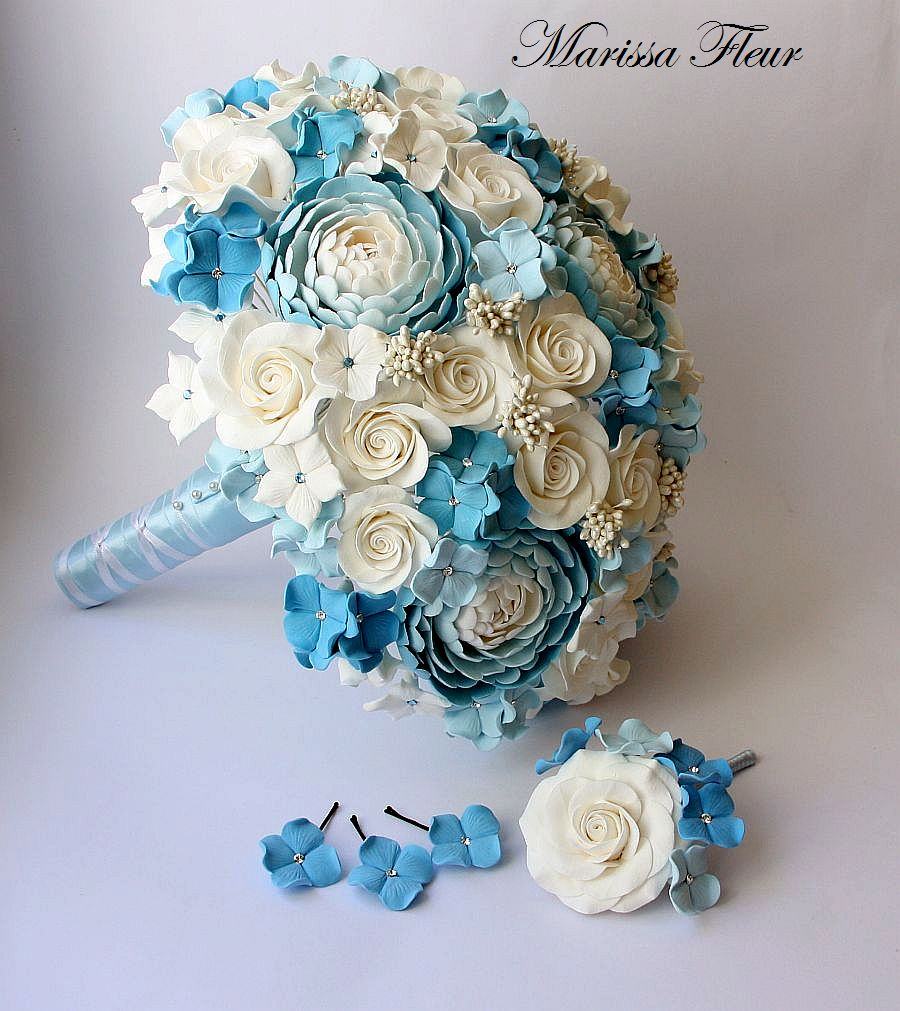 A touch of beauty white and light blue bridal bouquet for White and blue flower bouquet