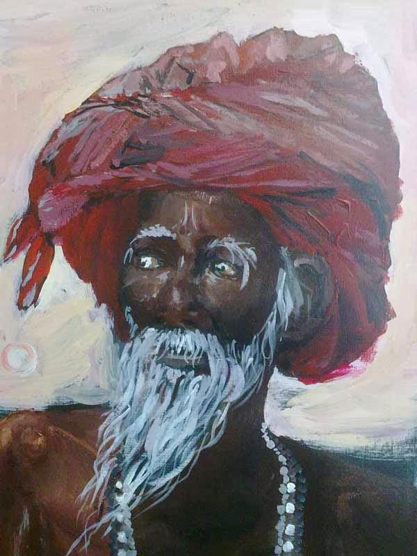 retrato de indio con acrilico