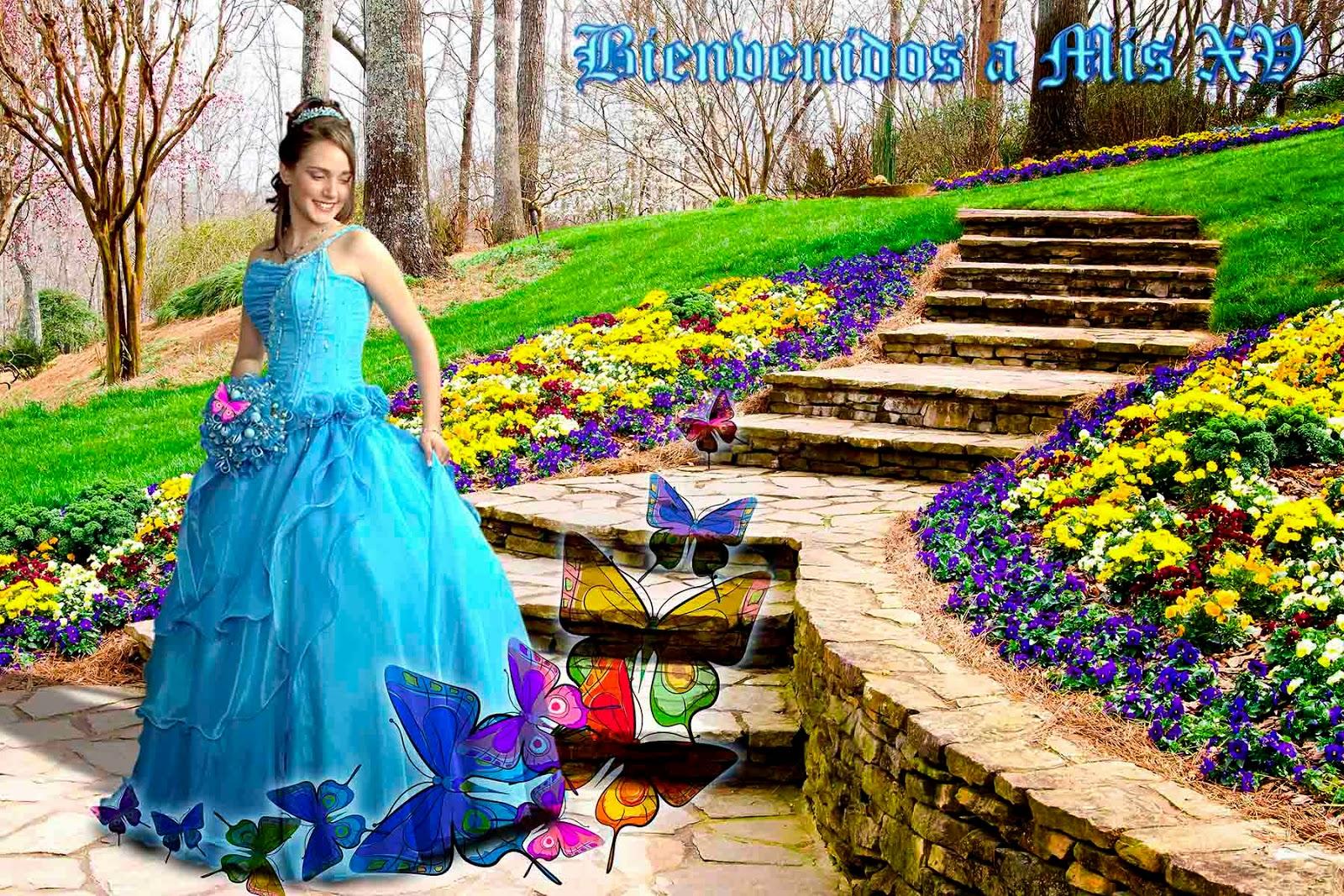 Jardín con escalinata y mariposas de fantasía
