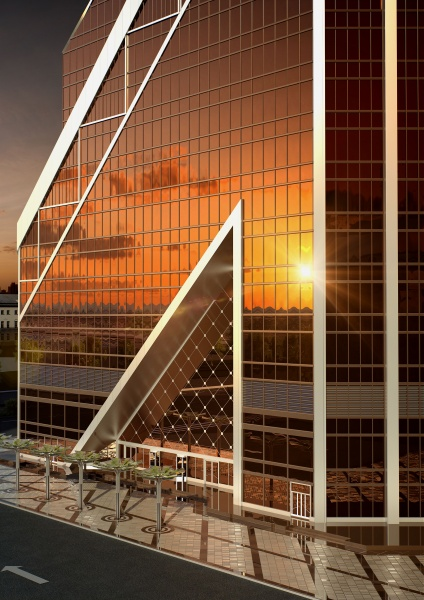 Rendering of the sunset reflection on the first few floor of the tower