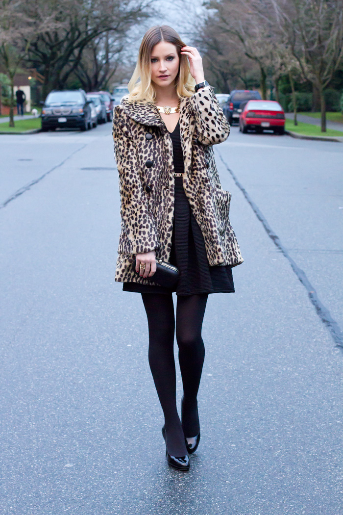 Vancouver Fashion Blogger, Alison Hutchinson, wearing Urban Outfitters leopard faux fur coat, Topshop tulip black dress, Collette black clutch, BCBG patent black leather heels, Zara leopard necklace.