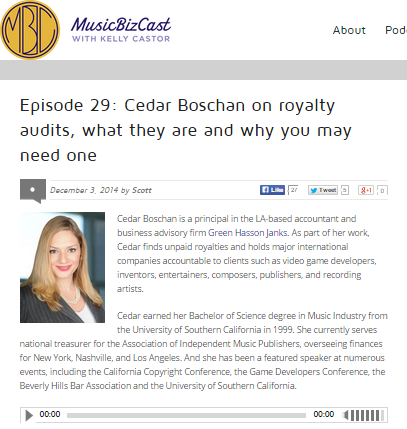 MusicBizCast with Kelly Castor Episode 29 with Cedar Boschan