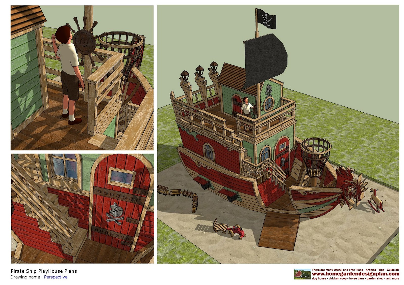 PS100   Pirates Ship PlayHouse Plans   PlayHouse Design   PlayHouse Plans  Construction