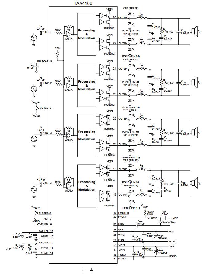 schematic diagram  4x100w four channel class t digital