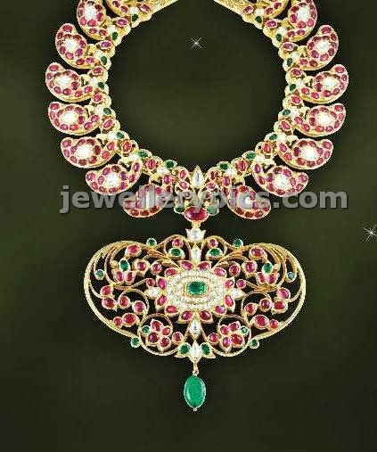 jcs jewellers ruby kundan mango short necklace with broad locket