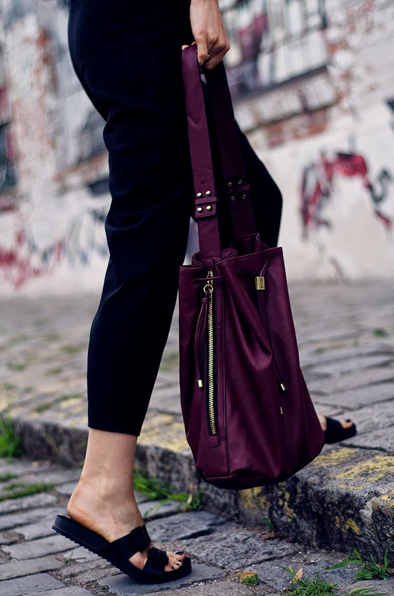 bucket bag overalls blackfive zara birkenstock