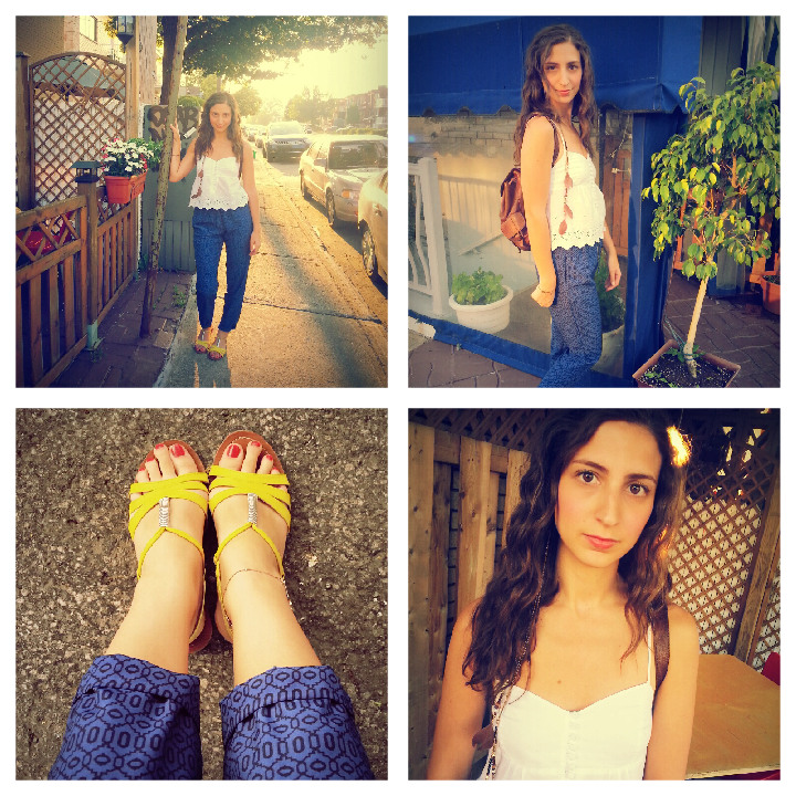 blue tapered pants yellow sandals