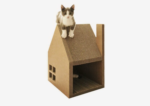 Casa para gatos con carton reciclado - Casa para gato ...