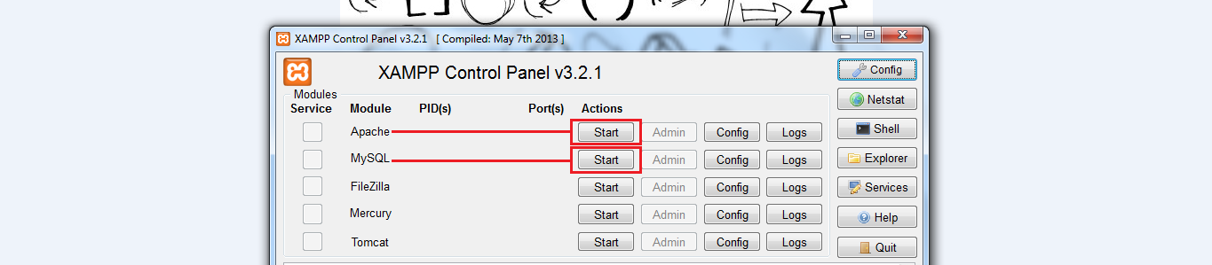 Start Apache and Mysql Server From Xampp Control Panel
