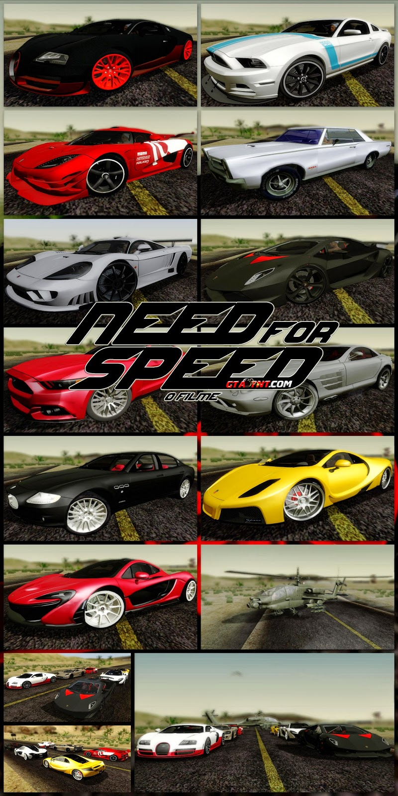 GTA SA – Pack de Carros do Need For Speed O Filme