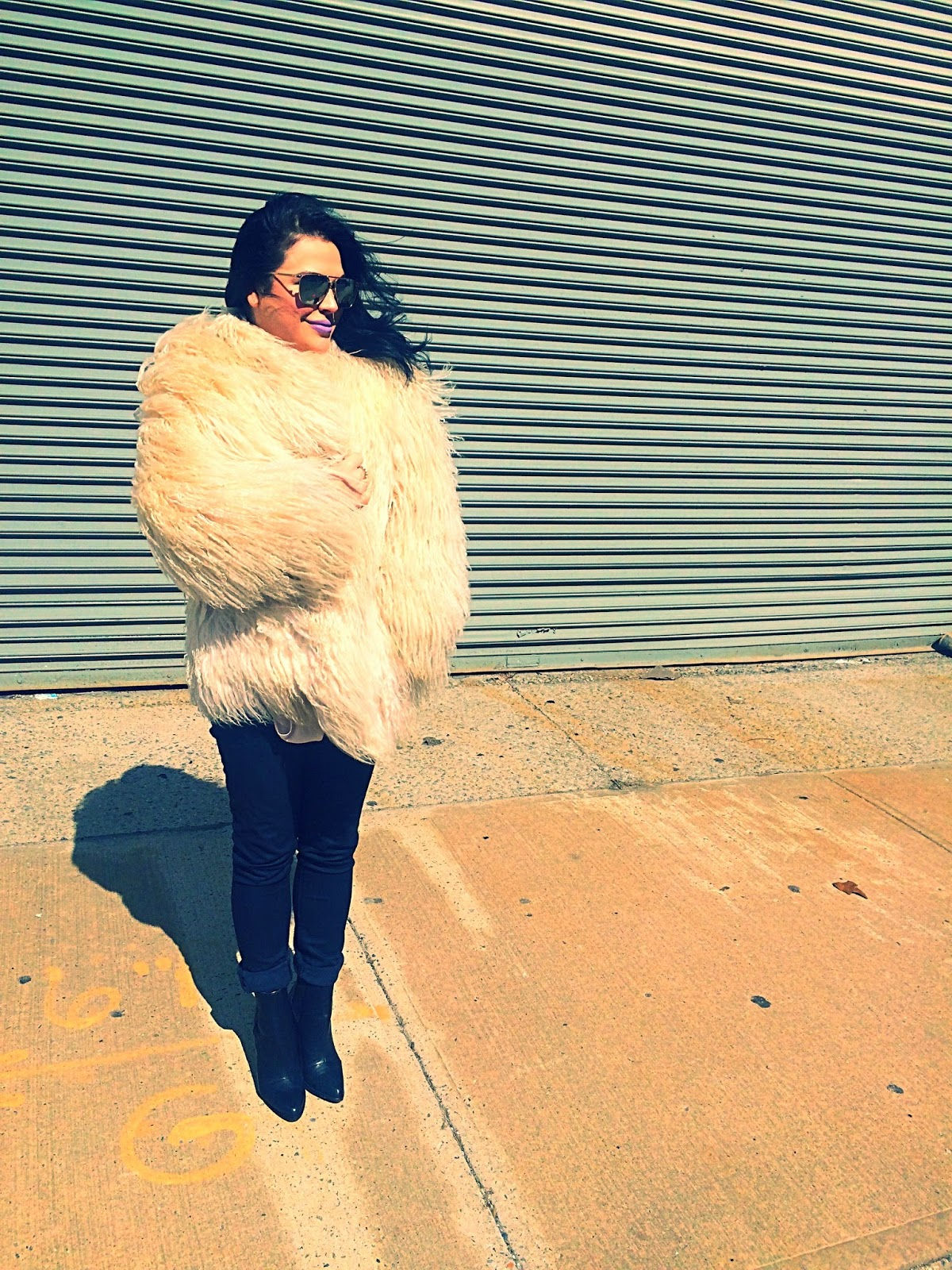 New York fashion write, Olivia Inkster New York City blogger, vintage shag coat, seventies fur coat, oversized fur coat, winter white shag coat, Kate Hudson almost famous, best New York bloggers