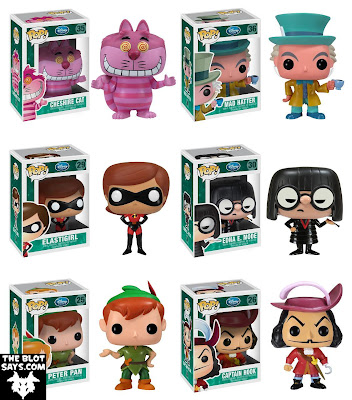 Disney Pop! Vinyl Figures Wave 3 by Funko - Cheshire Cat, Mad Hatter, Elastigirl, Edna E. Mode, Peter Pan & Captain Hook
