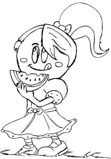 Desenhos Preto e Branco menina animada  Colorir