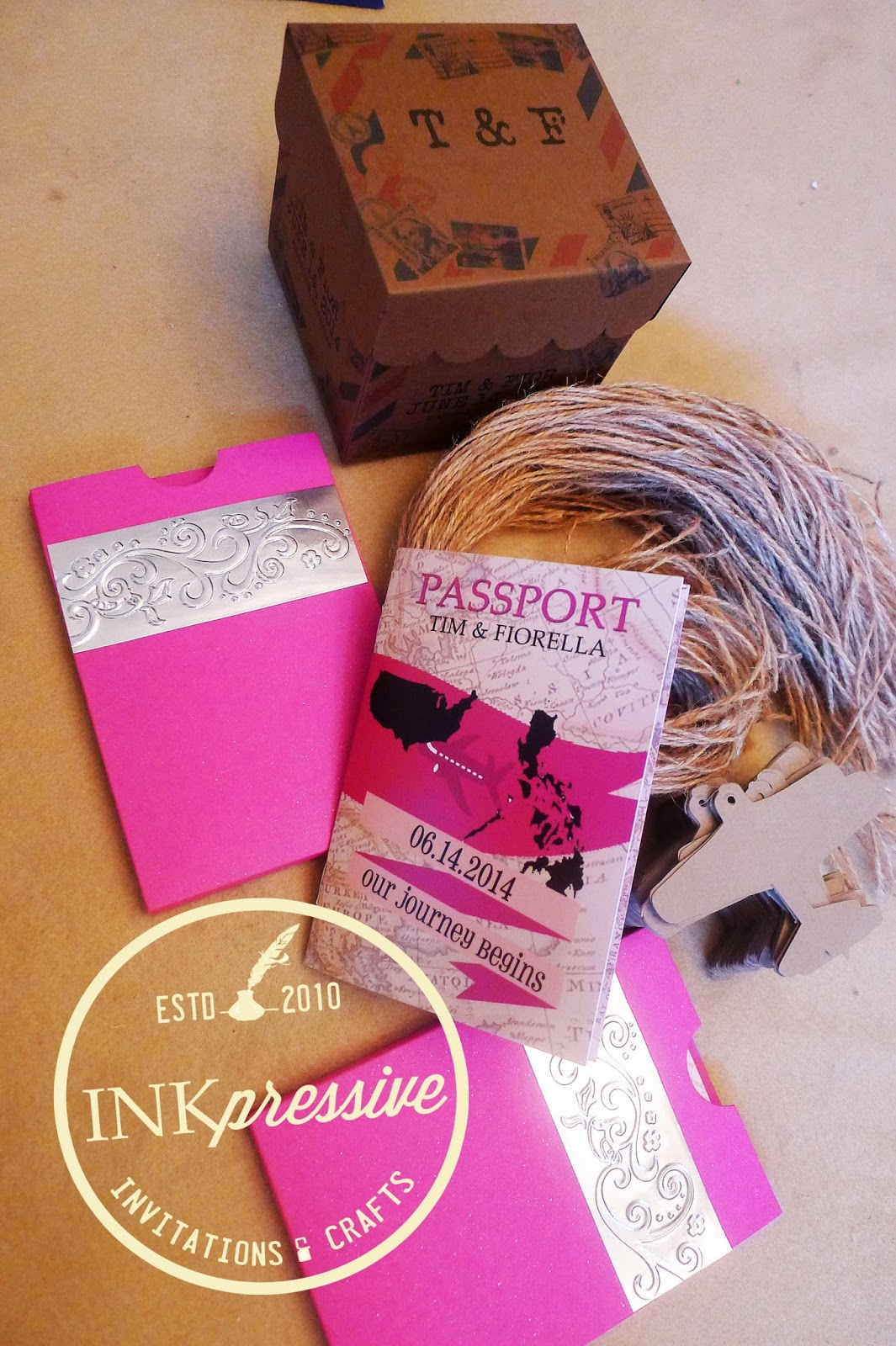 Boarding Pass and Passport Wedding Invitation + Suitcases + Boxes ...