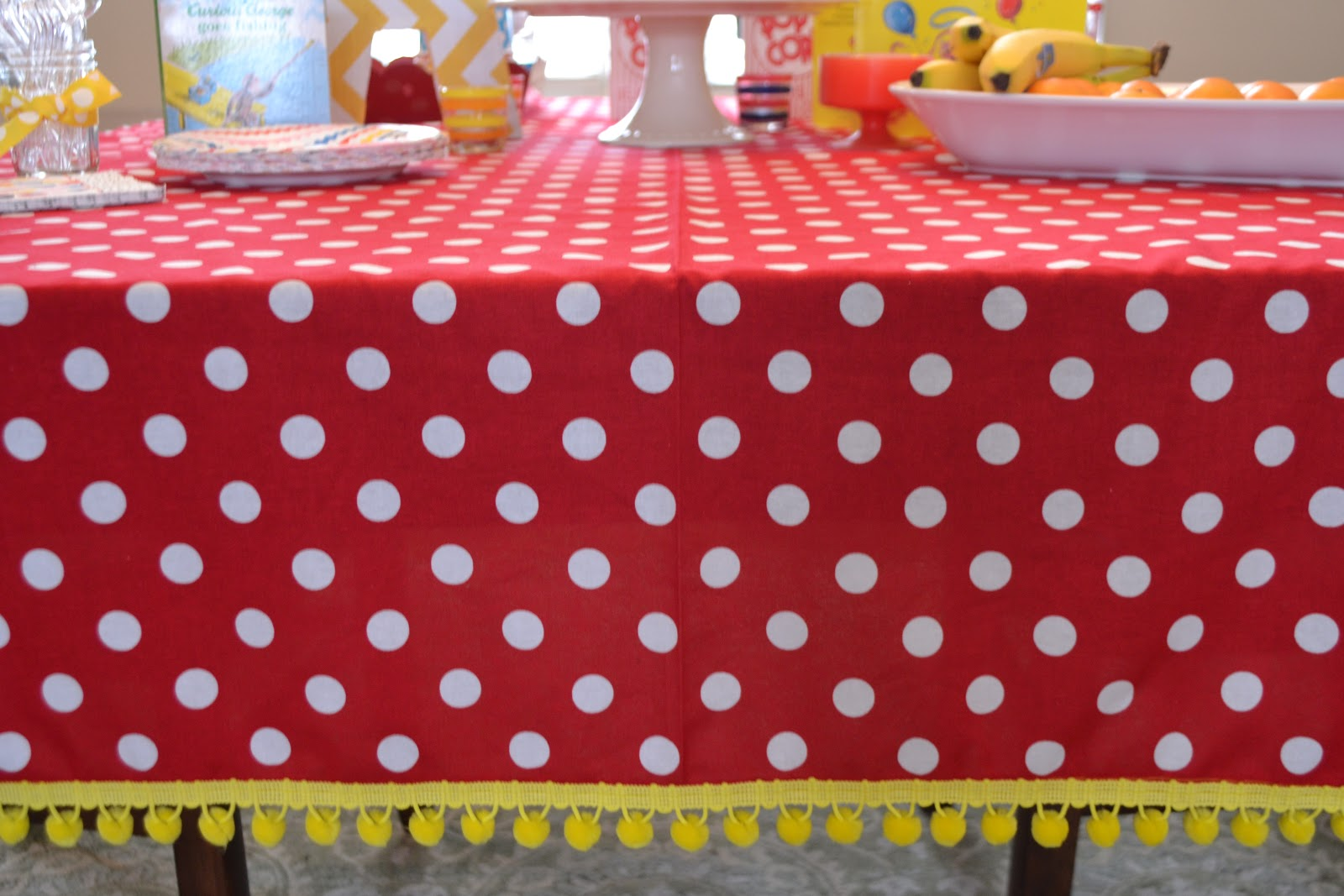 Homemade Curious George tablecloth
