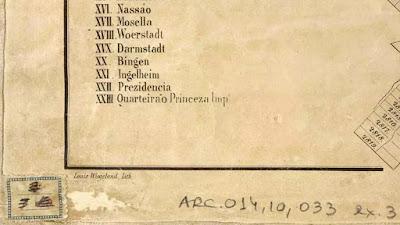 Detalhe do canto inferior esquerdo da planta de Otto Reimarus para Petrópolis, RJ, em 1854