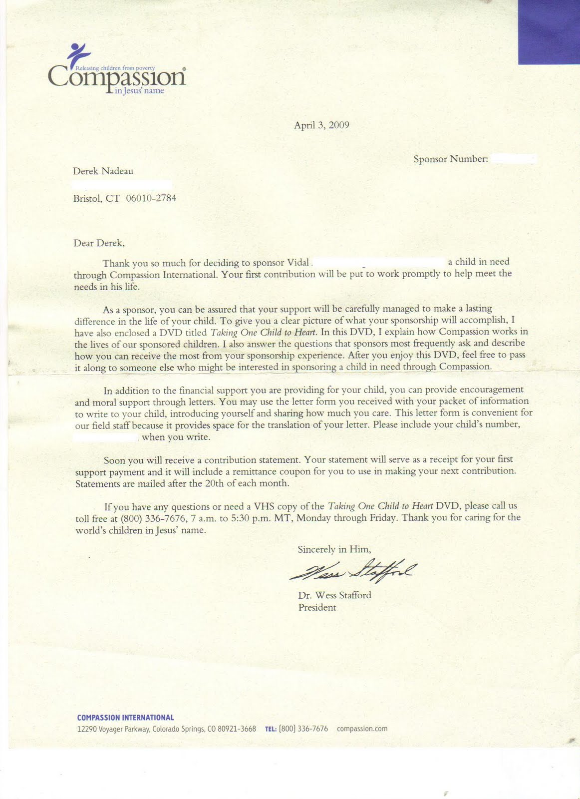 welcome letter from compassion international on april 3 2009