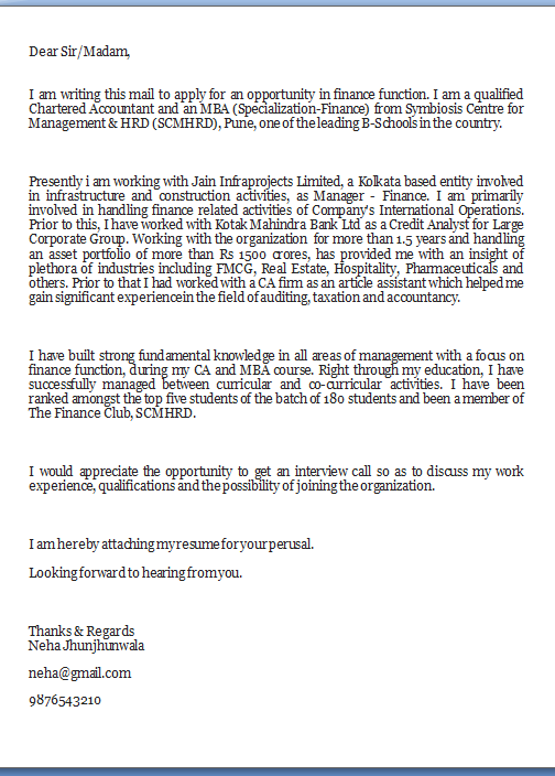 cover letter for application