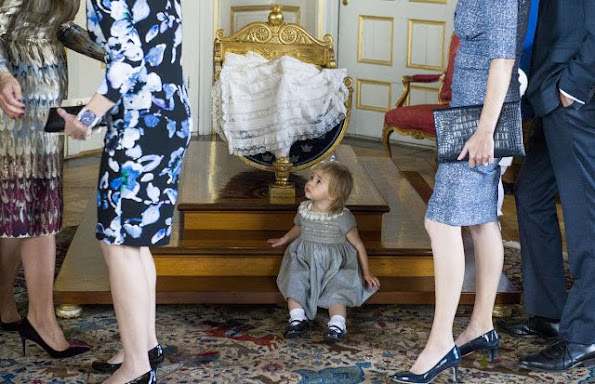 Princess Estelle of Sweden; Crown Princess Victoria of Sweden and Prince Daniel of Sweden are seen at Drottningholm Palace for the Christening of Prince Nicolas of Sweden at Drottningholm Palace