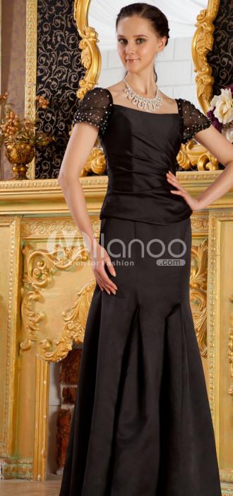 Slim Sirène Trompette Manches courtes plissée satin mère de l'époux et robe de mariée