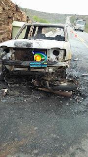 Carro e moto batem e pegam fogo na PB 137, próximo a Picuí