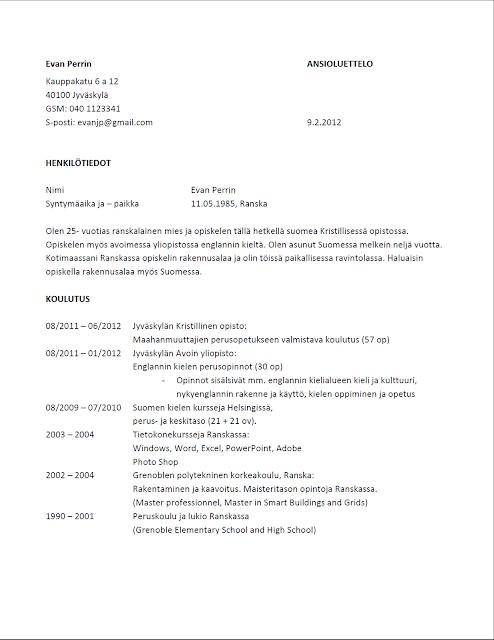 työhakemus sähköpostilla malli Kouvola