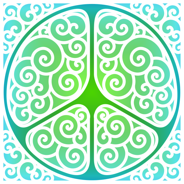 Swirled peace symbol