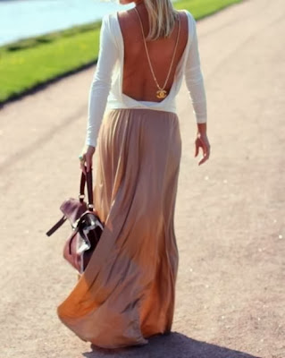 White Low Back Long Sleeveless Shirt With Camel Color Maxi Skirt