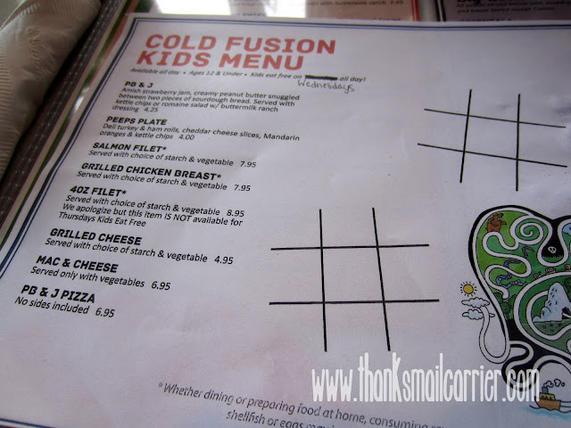 Cold Fusion kids menu