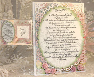 Our Daily Bread Designs, Life is a Gift, Psalm 23 Script, Quiet Waters, Scripture Collection 13, Layered Lacey Squares, Ornate Borders and Flowers, Doily, Shabby Rose Collection, Designed by Robin Clendenning