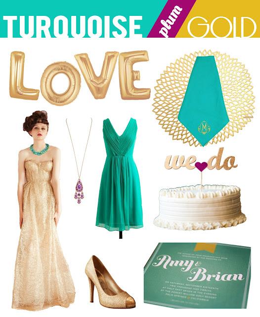 Wedding trend 2013 inspiration turquoise green plum purple gold