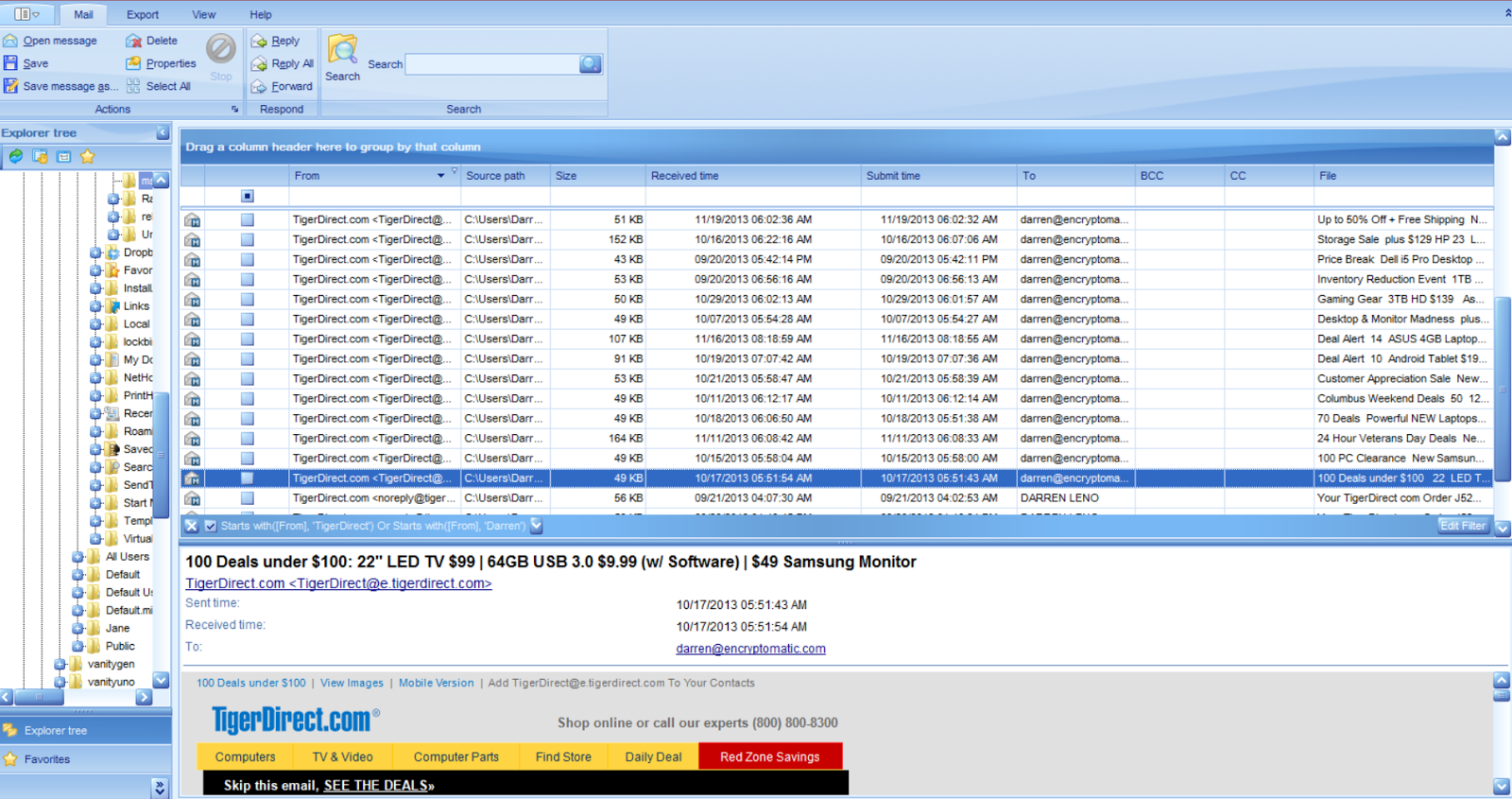 Main image screen of PstViewer Pro with messages in the mail list.
