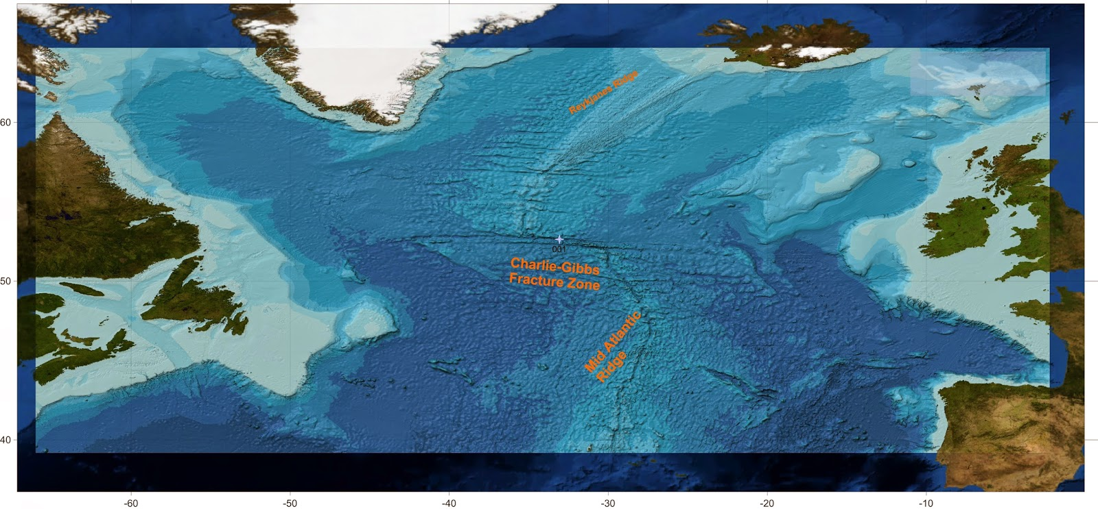 map of the mid atlantic ridge and charlie gibbs fracture zone